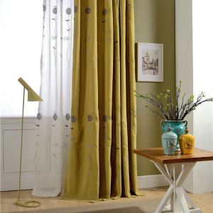 Modern Simple Curtain Cartoon Yellow Embroidery Curtain Bedroom Kids' Room Environment Protective Fabric(One Panel)