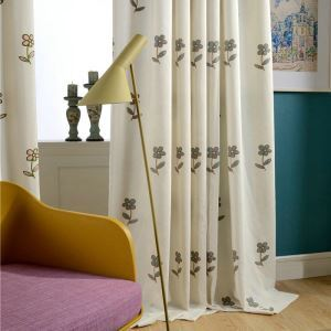 Japanese Rural Curtain Simple Flower Embroidery Curtain Bedroom Kids' Room Fabric(One Panel)