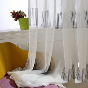 Modern Simple Sheer Curtain Unique Bar Code Sheer Curtain Breathable Embroidery Fabric(One Panel)