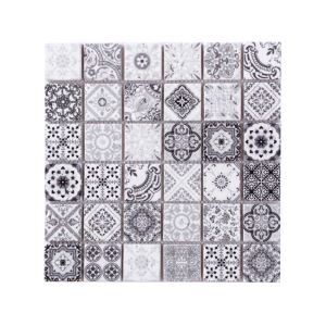 Natural Stone Mosaic Tile Square Black and White Moroccan Art Printed Multi Pattern Mixed Travertine 48x48