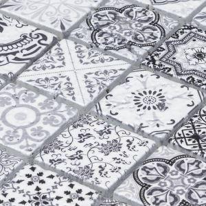 Natural Stone Mosaic Tile Square Black and White Moroccan Art Printed Multi Pattern Mixed Travertine 48x48