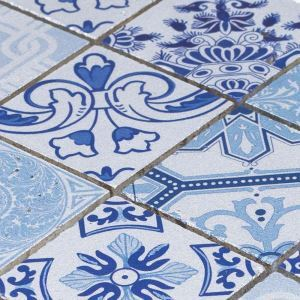 Natural Stone Mosaic Tile Square Blue and Silver Moroccan Art Printed Multi Pattern Mixed Travertine 48x48