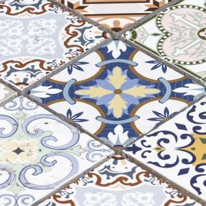 Natural Stone Mosaic Tile Square Multi-color Moroccan Art Printed Multi Pattern Mixed Travertine 73x73