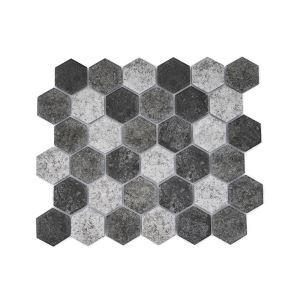 Matte Ceramic Mosaic Tile Hexagon Deep Green and Beige 51x59mm