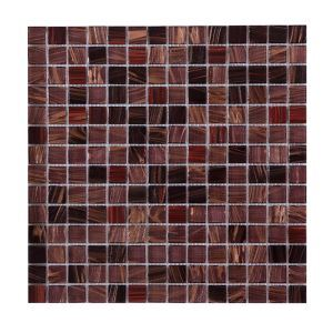Glass Mosaic Tile Square Copper and Bronze Metallic Highlight 20x20mm