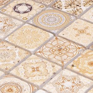 Natural Stone Mosaic Tile Square Yellow and Brown Moroccan Art Printed Multi Pattern Mixed Travertine 48x48