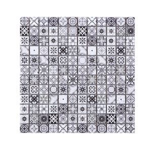 Natural Stone Mosaic Tile Square Black and White Moroccan Art Printed Multi Pattern Mixed Travertine 23x23