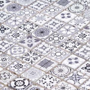 Natural Stone Mosaic Tile Square Black and White Moroccan Art Printed Multi Pattern Mixed Travertine 23x23