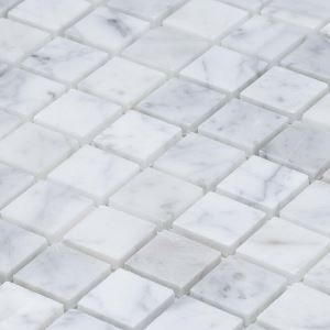 Carrara White Honed Marble Mosaic Tile Square Tile Natural Stone 25x25mm