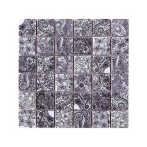 Natural Stone Mosaic Tile Square Black and White Flowers Art Printed Multi Pattern Mixed Travertine 48x48