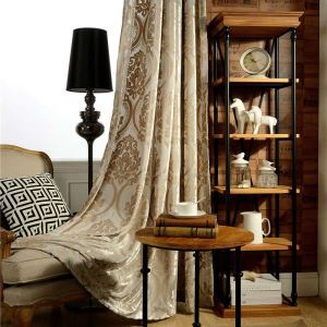 European Luxury Curtain Flannelette Jacquard Curtain Living Room Study Soft Fabric(One Panel)
