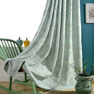 Japanese Simple Curtain Elegant Flower Embroidery Curtain(One Panel)