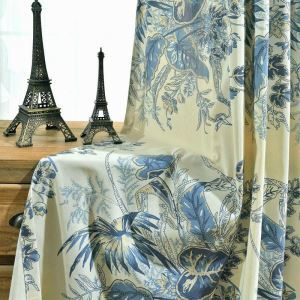 Modern Rural Curtain Blue Leaves Printed Curtain Unique Study Fabric(One Panel)