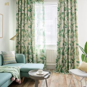American Rural Curtain Bedroom Printed Curtain Green Environment Protective Fabric(One Panel)