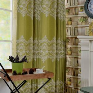 Nordic Simple Curtain Exquisite Embroidery Curtain Green Environment Protective Fabric(One Panel)