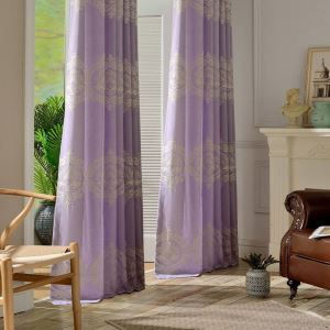 Nordic Simple Curtain Purple Elegant Curtain Large European Flower Embroidery Curtain Bedroom Fabric(One Panel)