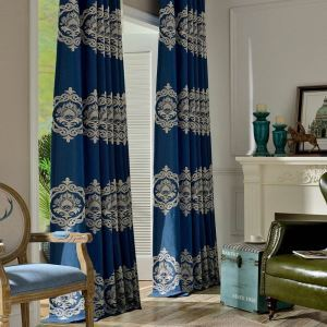 Nordic Simple Curtain Blue Embroidery Curtain Living Room Study Fabric(One Panle)