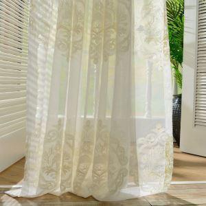 Nordic Simple Sheer Curtain European Flower Embroidery Sheer Curtain Living Room Study Fabric(One Panel)