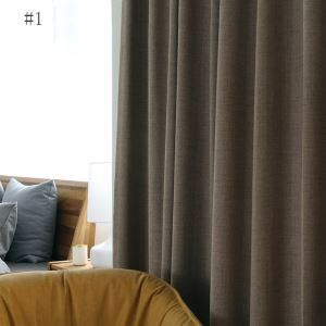 Modern Simple Curain Waterproof Insulated Curtain Living Room Office Solid Fabric(One Panel)