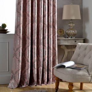 European Rural Curtain Pink Jacquard Curtain Bedroom Blackout Fabric(One Panel)