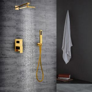 Bathroom Shower Faucet Set PVD Golden In-Wall with Hand Shower
