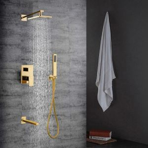 Bathroom Shower Faucet Set Golden In-Wall with Hand Shower