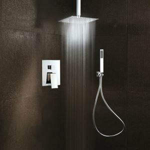 Bathroom Shower Faucet Set Chrome In-Wall Flush Mount Shower Head