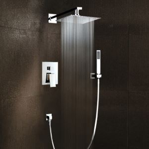 Bathroom Shower Faucet Set Chrome In-Wall with Hand Shower