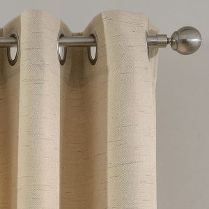 Modern Simple Curtain Solid Beige Curtain Flax Blackout Fabric(One Panel)