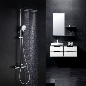 Thermostatic Shower Faucet Set Chrome with Hand Shower