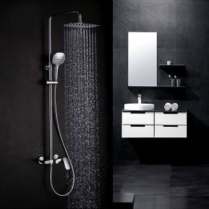 Bathroom Shower Faucet Set Chrome with Hand Shower
