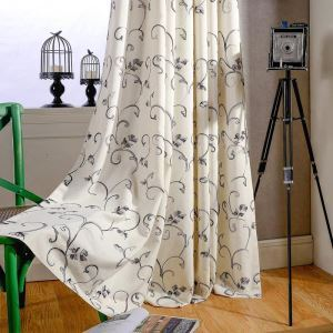 American Simple Curtain Ink Rolling Leaf Embroidery Curtain Cotton Linen Fabric(One Panel)