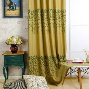 American Antique Curtain Yellow Embroidery Curtain Environment Protective Cotton Linen Fabric(One Panel)