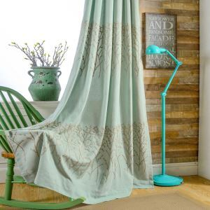 American Simple Curtain Green Embroidery Curtain Breathable Fabric(One Panel)