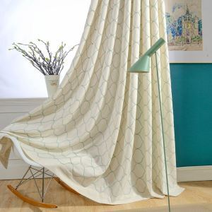 Japanese Simple Curtain Versatile Embroidery Curtain Environment Protective Insulated Fabric(One Panel)