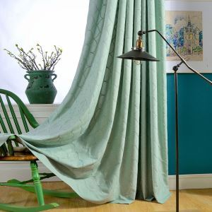 Japanese Simple Curtain Geometric Embroidery Curtain Green Environment Protective Fabric(One Panel)