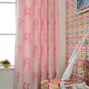 Modern Cartoon Curtain Pink Flower Jacquard Curtain Kids' Room Fabric(One Panel)