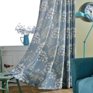 Japanese Simple Curtain Blue Flower Printed Curtain(One Panel)