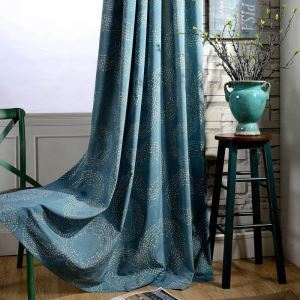 American Antique Curtain Blue Circle Printed Curtain(One Panel)