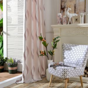 Modern Simple Curtain Pink Wave Jacquard Curtain(One Panel)