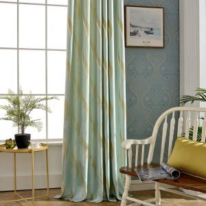 Modern Simple Curtain Green Wave Jacquard Curtain(One Panel)