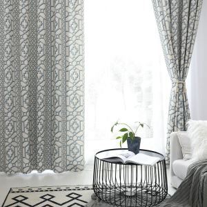 Nordic Simple Curtain Geometric Printed Curtain Living Room Study Fabric(One Panel)