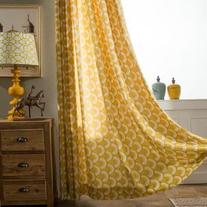 Simple Cartoon Curtain Yellow Unique Printed Curtain Bedroom Polyester Cotton Fabric(One Panel)