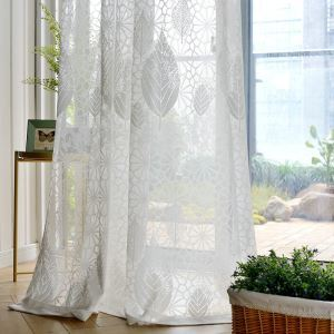 Modern Simple Sheer Curtain Leaves Lace Jacquard Sheer Curtain Bedroom Living Room Versatile Fabric(One Panel)