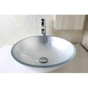 Modern Fashion Round Silver Paste Silver Foil Tempered Glass Basin