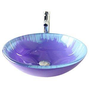 Modern Fashion Round Light Purple Tempered Glass Basin