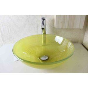 Modern Fashion Round Light Green Tempered Glass Basin