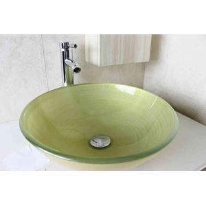 Modern Fashion Round Yellow-Green Swirl Pattern Tempered Glass Basin