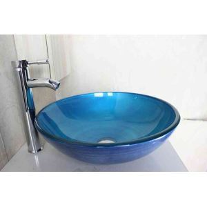 Modern Fashion Round Light Blue Swirl Pattern Tempered Glass Basin High-bending Faucet Set