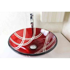 Modern Fashion Round Red Tempered Glass Basin